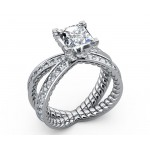 Swirl split shank Pavé Diamond Engagement Ring in 18K White gold (1.1/4 ct. tw. side diamonds)