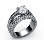 Five-row pave Diamond Engagement Ring in 18K White gold (2.1/4 ct. tw.)