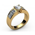 2-row channel set Diamond Engagement Ring in 18K White gold (1 ct. side diamonds)