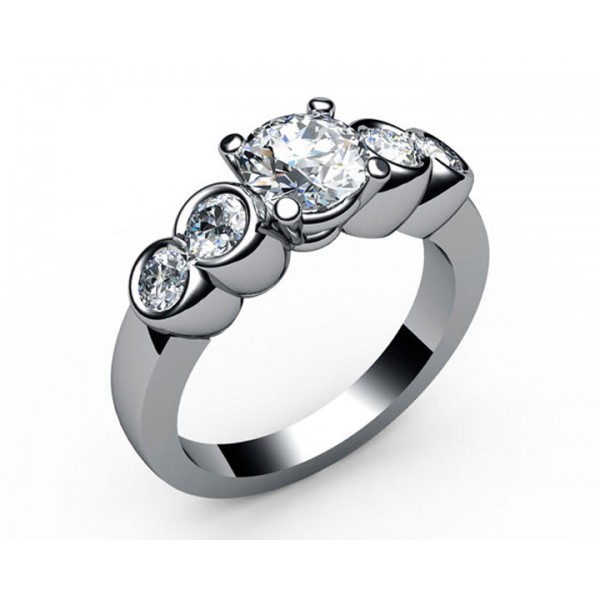 Bella 5-stone Diamond Engagement Ring in 18K White gold (1/2 ct. tw. side diamonds)