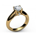 Accents Solitaire Diamond Engagement in 18K White gold (1.05 ct. tw.)