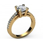 Cathedral Pavé Diamond Engagement ring in 18K White gold (1/3 ct. tw. side diamonds)