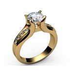 Tension channel Diamond Engagement in 18K White gold (1/6 ct. tw. side diamonds)
