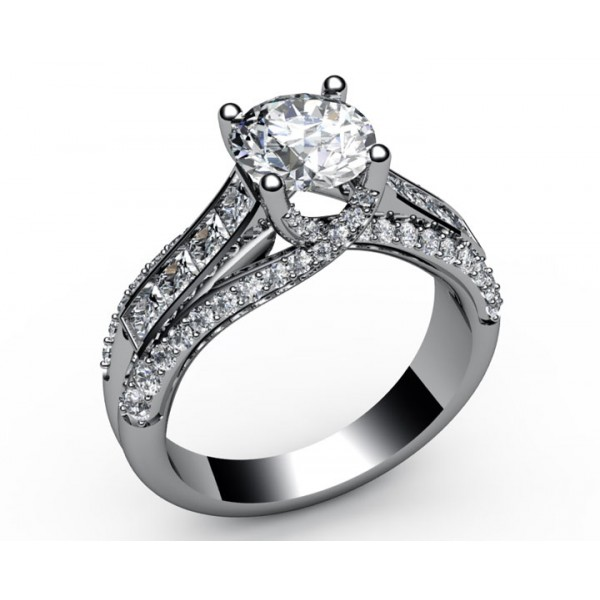 Intertwined Channel set Diamond Engagement Ring in 18K White gold (1.1/4 ct. tw. side diamonds)