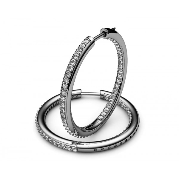 94 Diamonds Hoop Earrings in 18K White gold (1.1/4 ct. tw.)