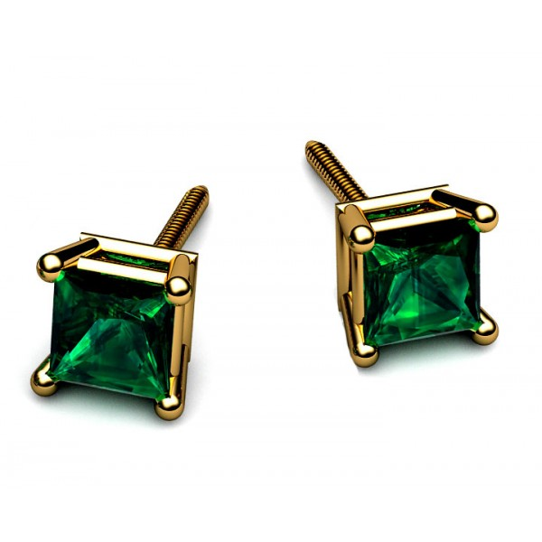 Classic four-prong Princess Emerald Stud earrings in 18K Yellow gold