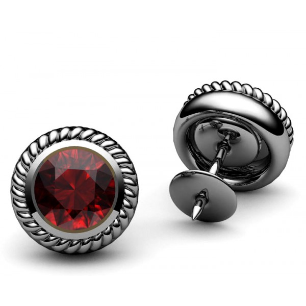 Bezel set Engraved Ruby stud Earrings in 18K White gold
