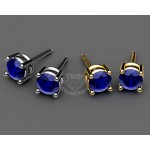 Classic four-prong Round Sapphire Stud earrings in 18K Yellow gold