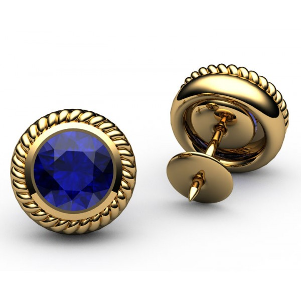 Bezel set Engraved Sapphire stud Earrings in 18K Yellow gold