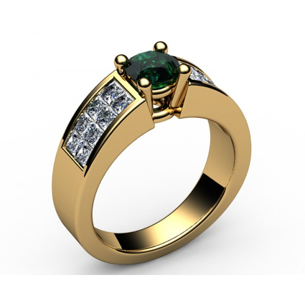 2-row channel set Diamond & Emerald Engagement Ring in 18K Yellow gold (1 ct. side diamonds)