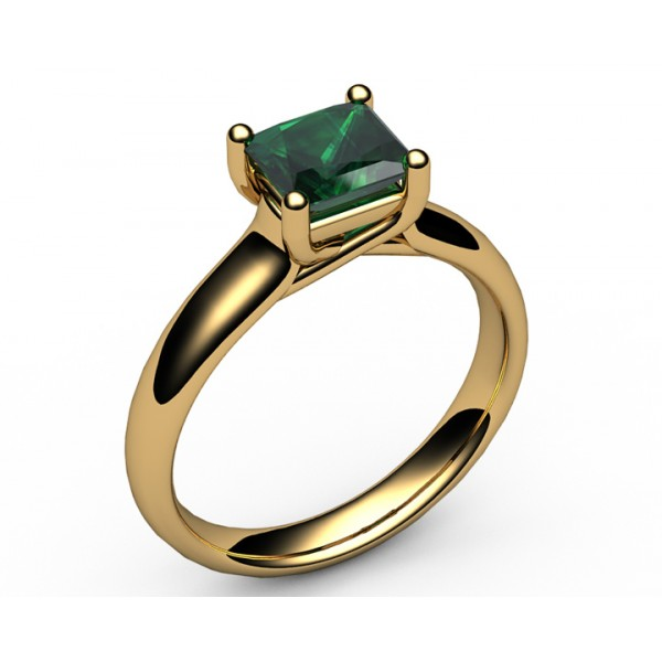 Solitaire Trellis Radiant Emerald & Diamond Engagement Ring in 18K Yellow gold