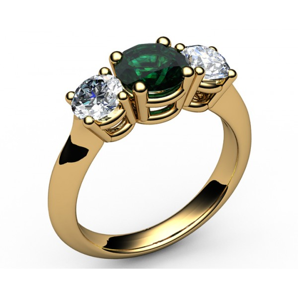 Three stone Emerald & Diamond Engagement Ring in 18K Yellow gold (0.80 ct. tw. side diamonds)