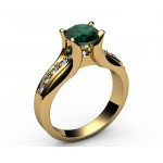 Tension channel Emerald Diamond ring in 18K Yellow gold (1/6 ct. tw. side diamonds)