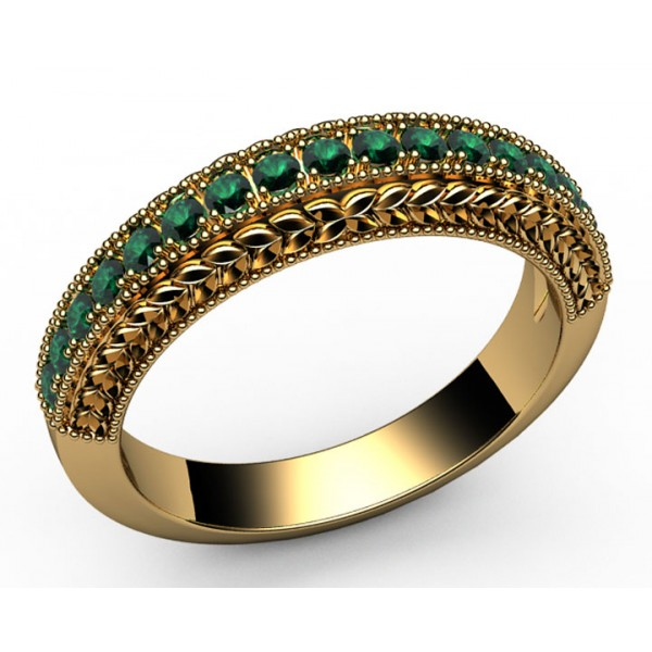 17 Emerald Wedding Ring in 18K Yellow gold (2/5 ct. tw.)