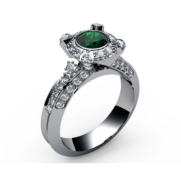 Pavé Halo Emerald Diamond Engagement Ring in 18K White gold (3/4 ct. tw. side diamonds)
