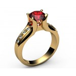 Tension channel Ruby Diamond ring in 18K Yellow gold (1/6 ct. tw.)