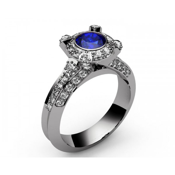 Pavé Halo Sapphire Diamond Engagement Ring in 18K Yellow gold (3/4 ct. tw.)