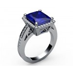 Frame Pavé Radiant Sapphire Diamond Engagement ring in 18K Yellow gold (1/3 ct. tw.)