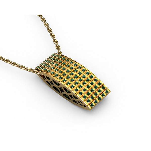 Micro Pavé Emerald Pendant in 18K Yellow White gold (2/5 ct. tw.)