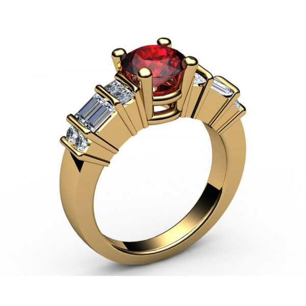 Princess & Baguette & Round Ruby Diamond ring in 18K Yellow gold (3/4 ct. tw.)