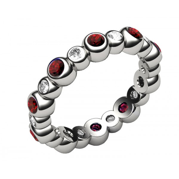 10 Ruby & 10 Diamond Eternity Ring in 18K White gold (1.25 ct. tw.)