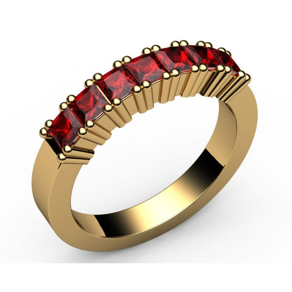 7-Ruby Wedding Ring in 18K Yellow gold (1 ct.)