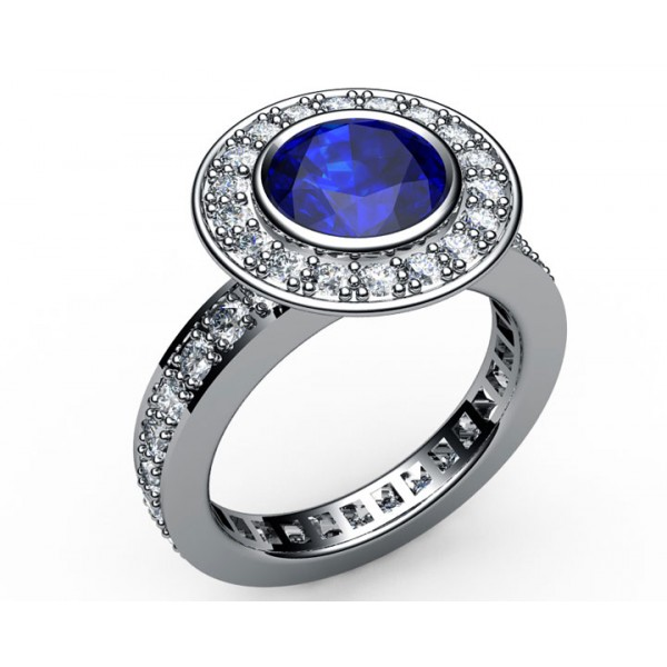 Pave Halo Sapphire & Diamond Engagement Ring in 18K gold (1 ct. tw. side diamonds)
