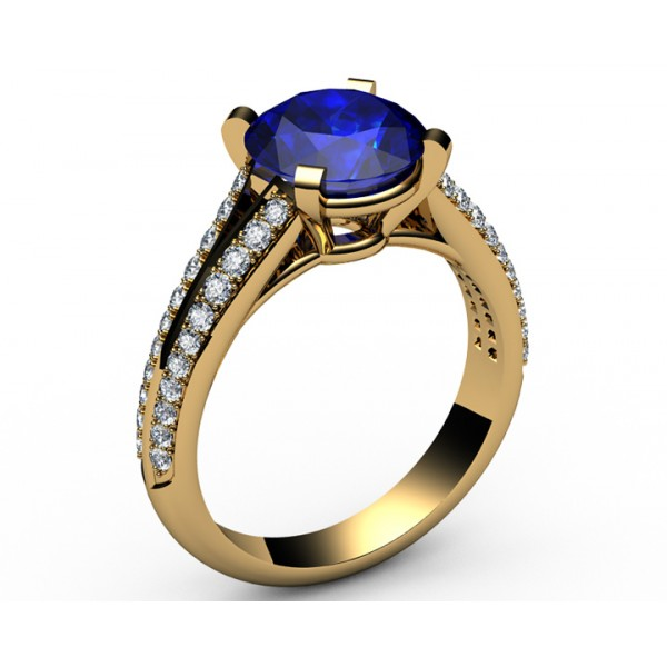 Micropavé split shank Diamond & Sapphire Engagement Ring in 18K Yellow gold (1/2 ct. tw.)