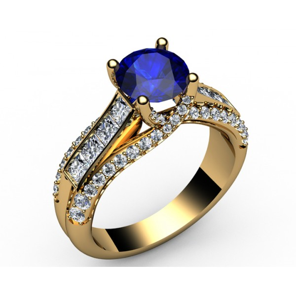 Intertwined Channel set Diamond & Sapphire Engagement Ring in 18K Yellow gold (1.1/4 ct. tw.)