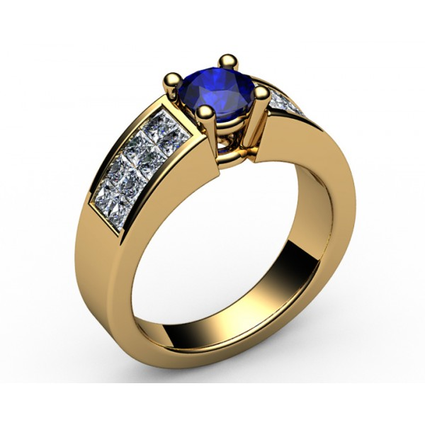 2-row channel set Diamond & Sapphire Engagement Ring in 18K Yellow gold (1 ct.)