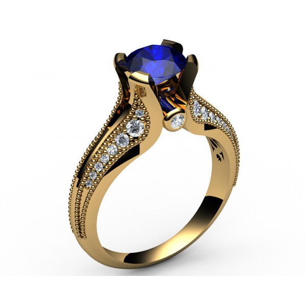 Milgrain Pavé Diamond & Sapphire Engagement Ring in 18K Yellow gold (1/3 ct. tw.)