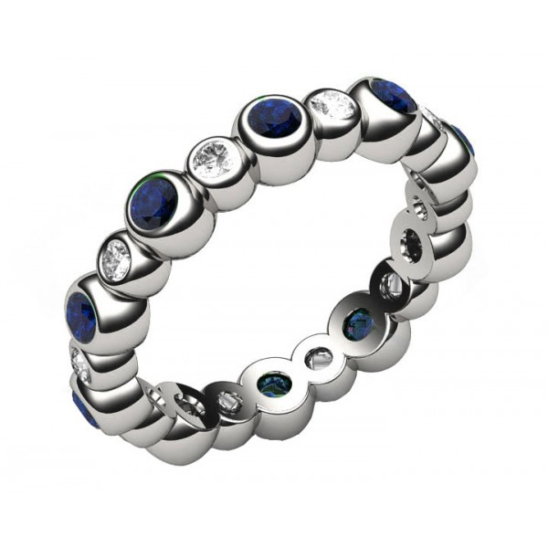 10 Sapphire & 10 Diamond Eternity Ring in 18K White gold (1.1/4 ct. tw)