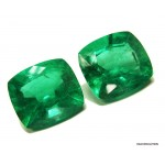 11.41 carat EXTRA FINE Grass Green PAIR of COLOMBIAN EMERALDS