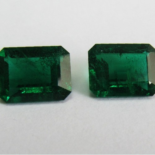 Matching Pair Zambian Emeralds, 4.24 carat, Emerald-cut, Strong olive grass Green color, Very RARE pair!